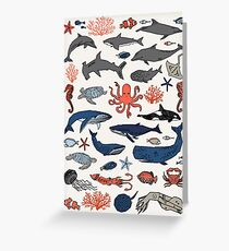 Ocean Animals by Andrea Lauren Greeting Card
