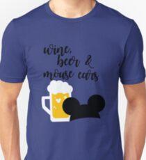 Wine, Beer & Mouse Ears for Men by Last Petal Tees Unisex T-Shirt