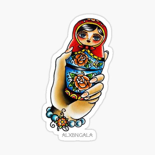 Hand Holding Matryoshka  Sticker