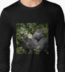 mountain gorilla eating flowers, Uganda Long Sleeve T-Shirt