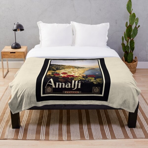 Vintage Amalfi Travel Advertisement - Amalfi Italia Enhanced Reproduction Throw Blanket