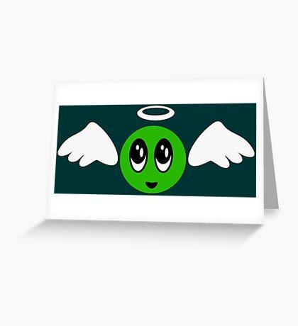Angel Smiley (green) VRS2 Greeting Card