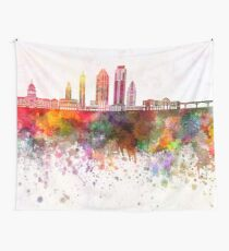 Austin skyline in watercolor background Tapestry