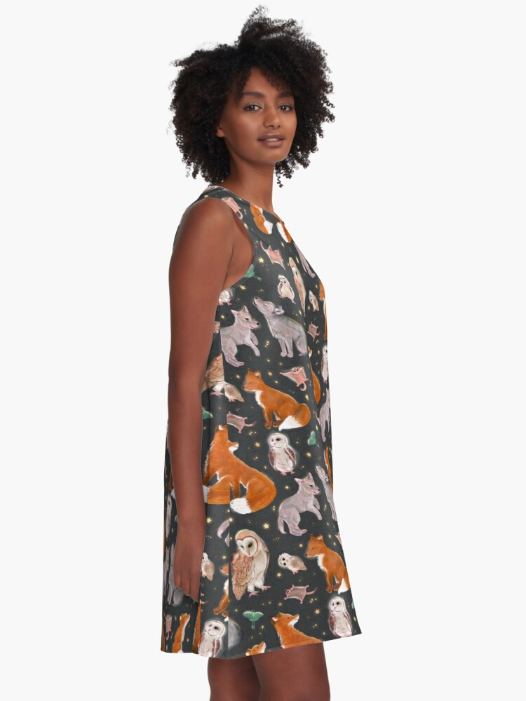 Alternate view of Woodland nocturnal animals A-Line Dress