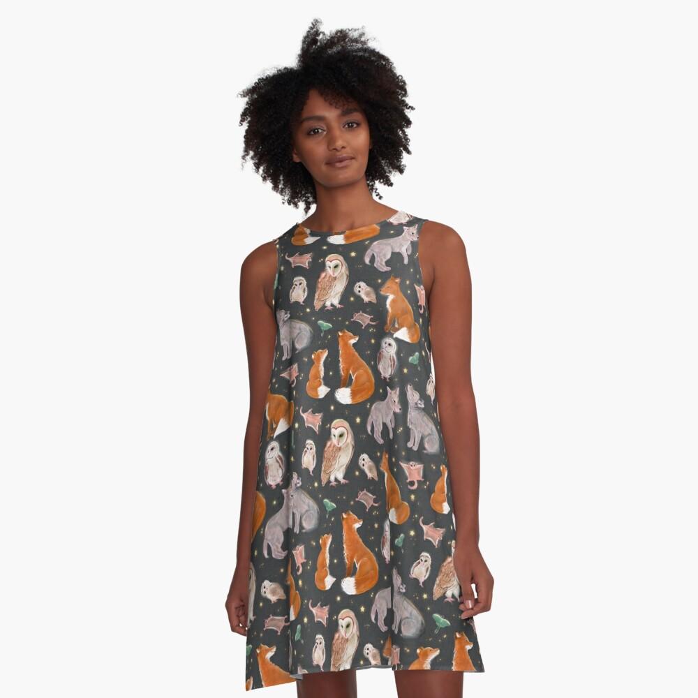 Woodland nocturnal animals A-Line Dress