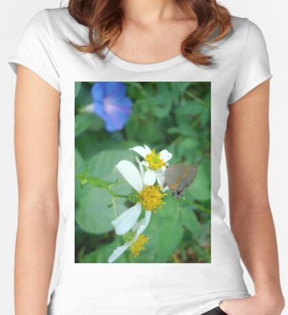 Banded Hairstreak in Spanish Needles Women's Fitted Scoop T-Shirt