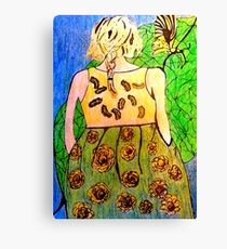 Butterfly and the Girl  Canvas Print