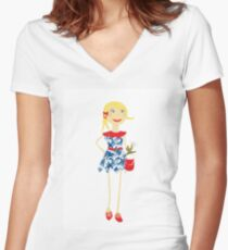 """""""Leyna"""" paper doll girl vector Women's Fitted V-Neck T-Shirt"""