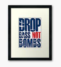 Drop Bass Not Bombs (dark blue/red)  Framed Print
