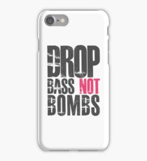 Drop Bass Not Bombs (dark black/cream pink)  iPhone Case/Skin