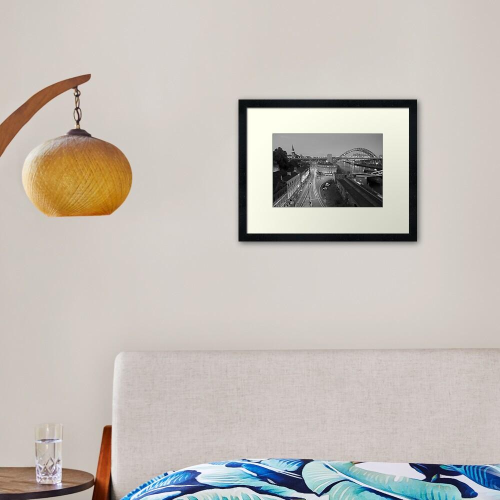 Sandhill, Newcastle upon Tyne at Dusk, Monochrome Framed Art Print