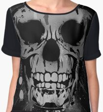 Cool Skull with Paint Drips - Black and White Women's Chiffon Top