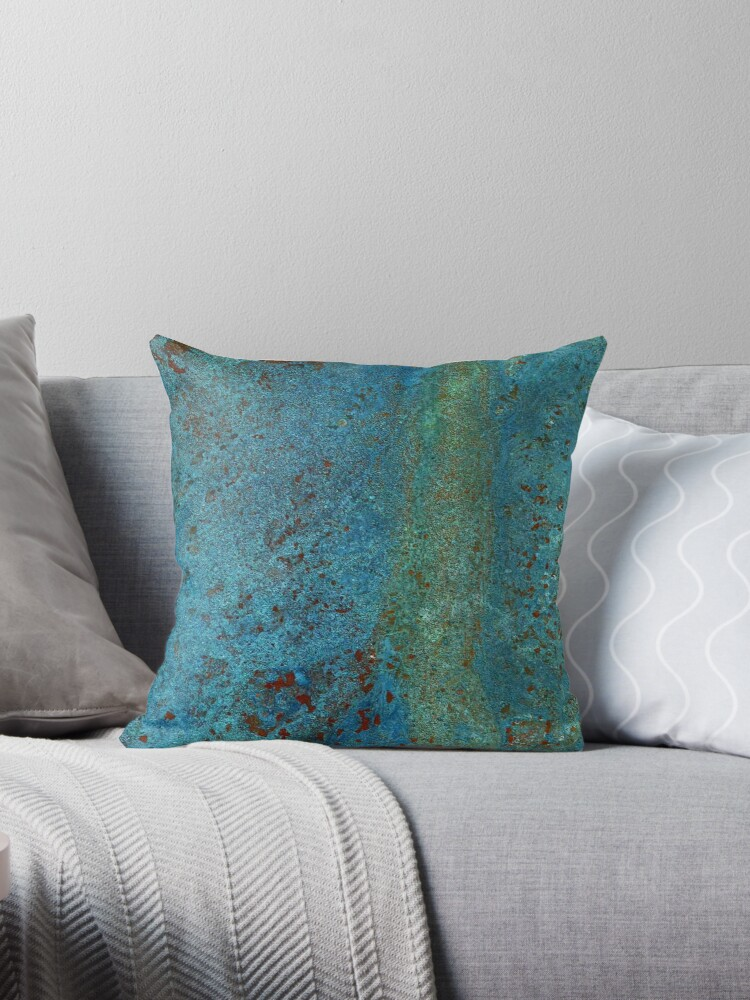 teal throw pillows. Teal Green Copper By RochelleLee Throw Pillows