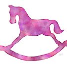 Adorable Pink & Purple Rocking Horse Watercolor Silhouette for Nursery by Laura Bell