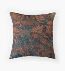 Brown Blue Copper Rust Throw Pillow