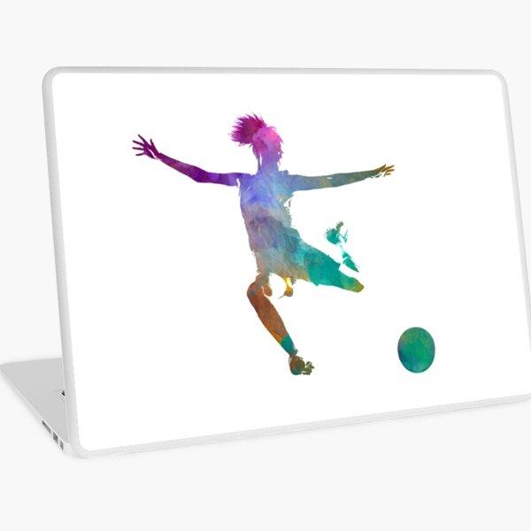 Woman soccer player 03 in watercolor Laptop Skin