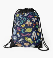Cartoon Space Explorer Birthday Kids Theme Drawstring Bag