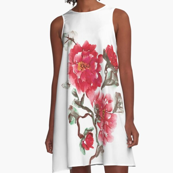 Peonies, painted in gouache.  A-Line Dress