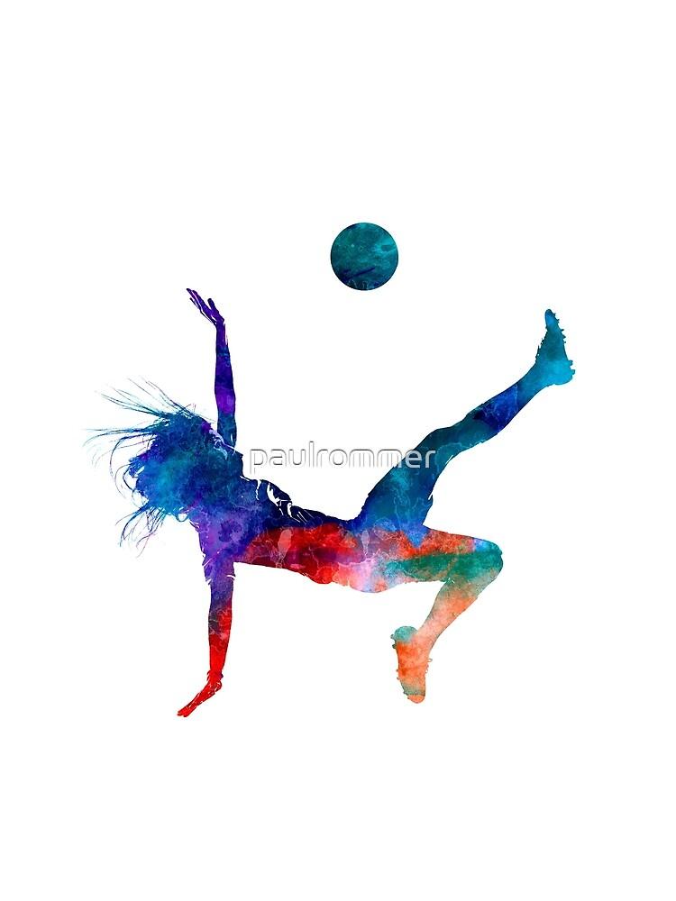 Jugador de fútbol femenino 08 en acuarela de paulrommer