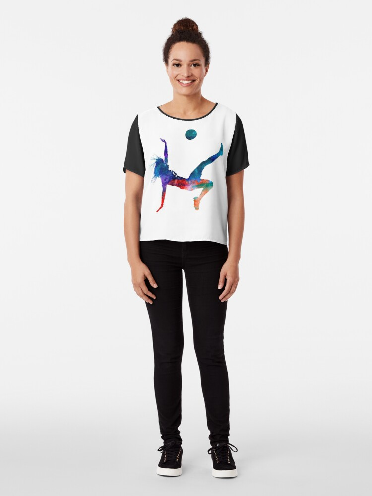 Vista alternativa de Blusa Jugador de fútbol femenino 08 en acuarela