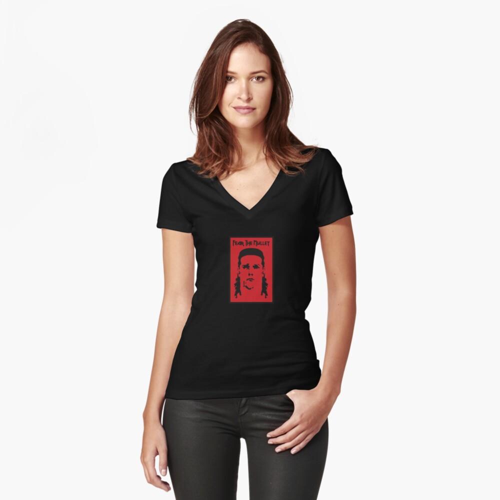 T-shirt moulant col V «Craignez le mulet»