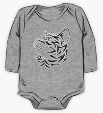 Cat, Tribal Cat, Cat looking Up, Feline, Puss, Pussy One Piece - Long Sleeve
