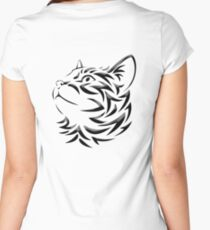 Cat, Tribal Cat, Cat looking Up, Feline, Puss, Pussy Women's Fitted Scoop T-Shirt
