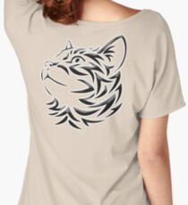 Cat, Tribal Cat, Cat looking Up, Feline, Puss, Pussy Women's Relaxed Fit T-Shirt
