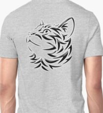 Cat, Tribal Cat, Cat looking Up, Feline, Puss, Pussy, on GREY T-Shirt