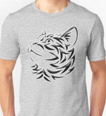 Cat, Tribal Cat, Cat looking Up, Feline, Puss, Pussy, on GREY Unisex T-Shirt