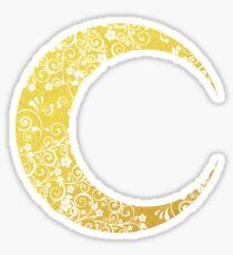 Gold Floral Crescent Moon Sticker