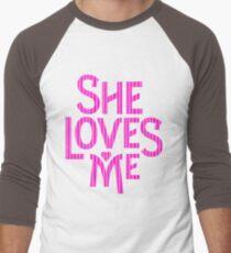 She Loves Me - logo art Men's Baseball ¾ T-Shirt