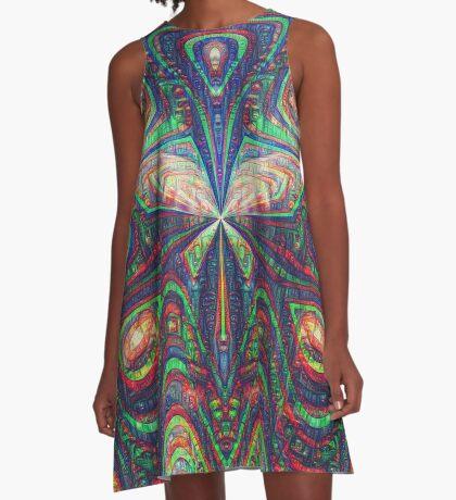 Warrior #DeepDream frequency A-Line Dress