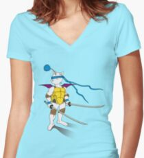 Leo the Moogle Women's Fitted V-Neck T-Shirt