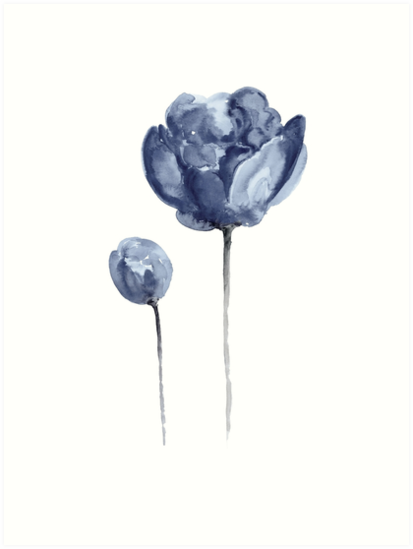Peony Navy Nursery Watercolor Painting Blue Flower Drawing Art