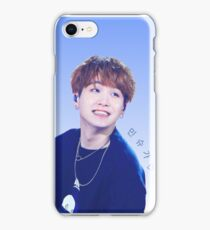 Smiling 'Min Suga' Blue and White Print iPhone Case/Skin