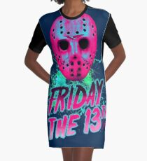 FRIDAY THE 13TH Neon V Graphic T-Shirt Dress