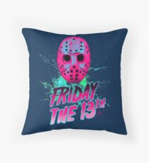 FRIDAY THE 13TH Neon V Throw Pillow