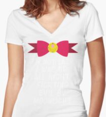 Fighting Evil By Moonlight Women's Fitted V-Neck T-Shirt