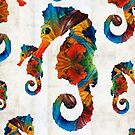 Colorful Seahorse Collage Art by Sharon Cummings by Sharon Cummings