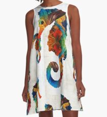 Colorful Seahorse Collage Art by Sharon Cummings A-Line Dress
