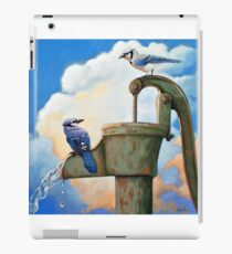 Blue Jays on Old Water Pump Bird realistic animal portrait painting iPad Case/Skin