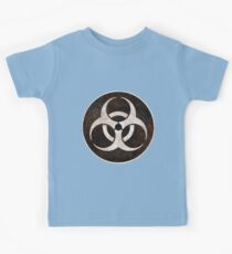 Aged and Beaten Biohazard White on Black - Apocalypse Geek Kids Clothes