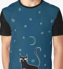 A Black Cat Graphic T-Shirt
