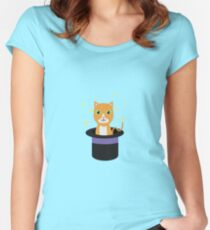 Cat In the magican hat Women's Fitted Scoop T-Shirt