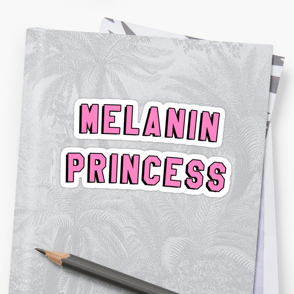 "Melanin Quotes Melanin Princess  Black Girl Magic Quote Print"" Stickers."