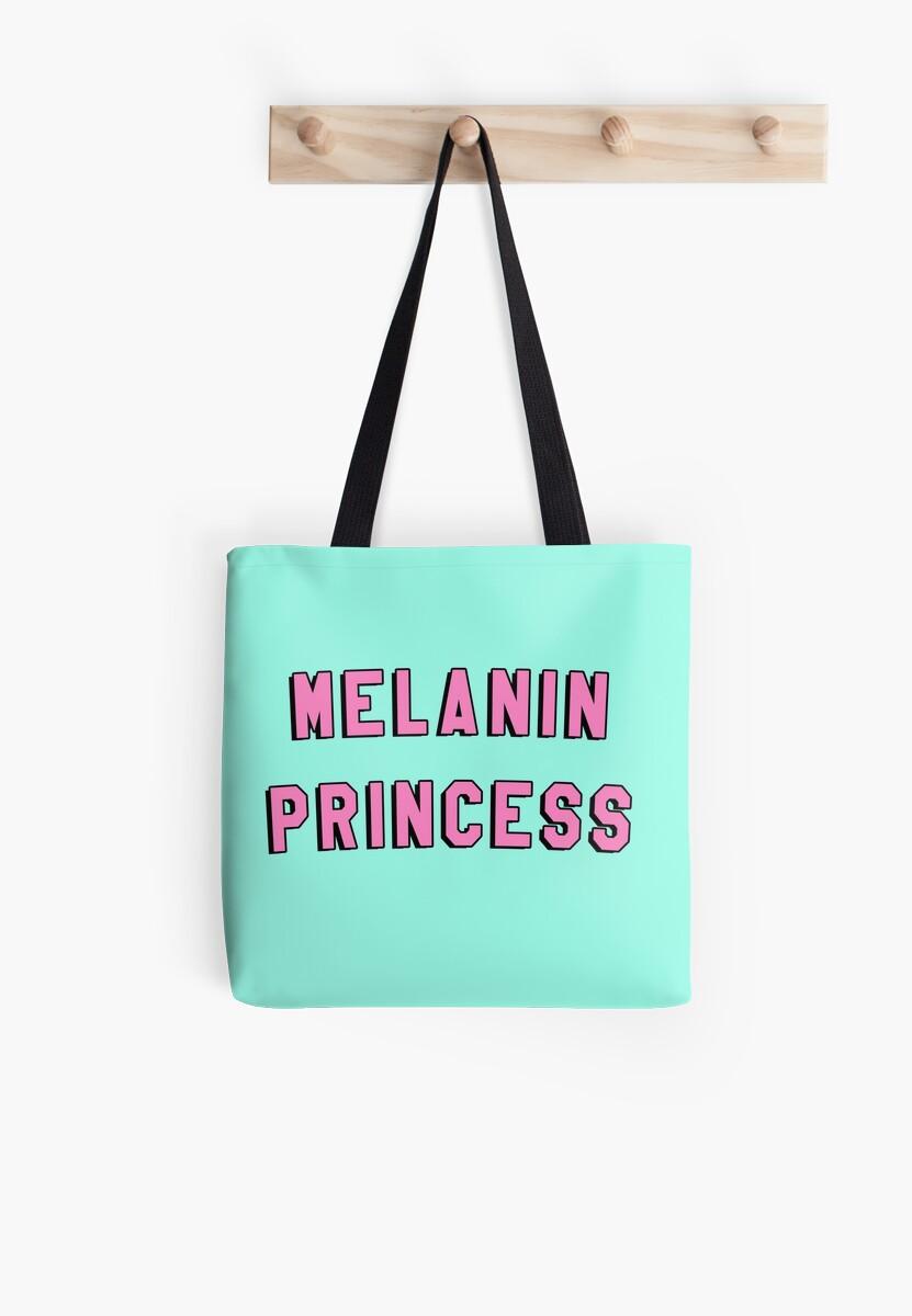 """Melanin Quotes Melanin Princess  Black Girl Magic Quote Print"""" Tote Bags."""