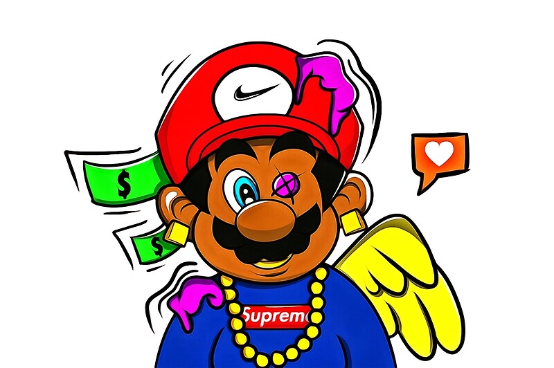 Cartoon Characters Supreme : Quot supreme mario photographic prints by carolynhomp redbubble