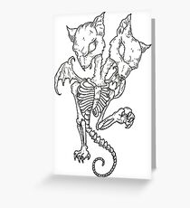 2 Headed Hell Cat Greeting Card