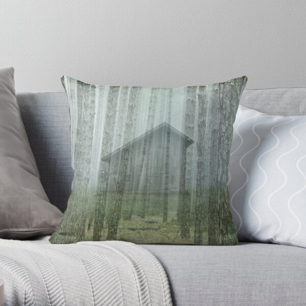 old barn in the woods by dePace' Throw Pillow